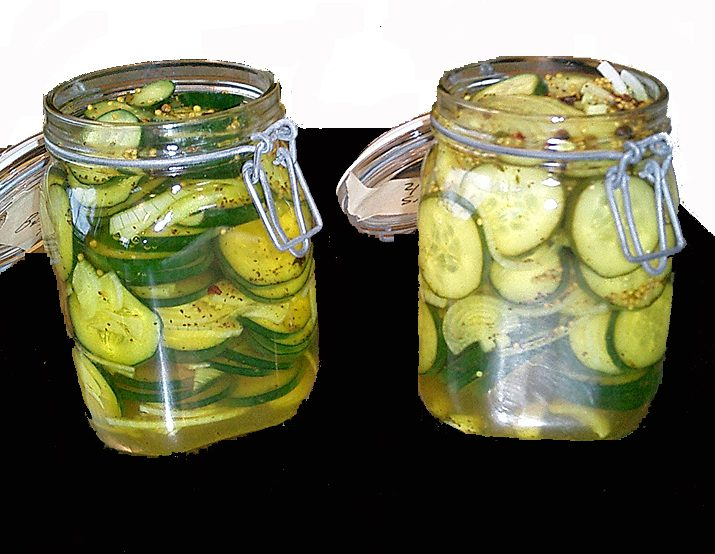 Bread and butter pickles from Alton Brown in two spring top jars.