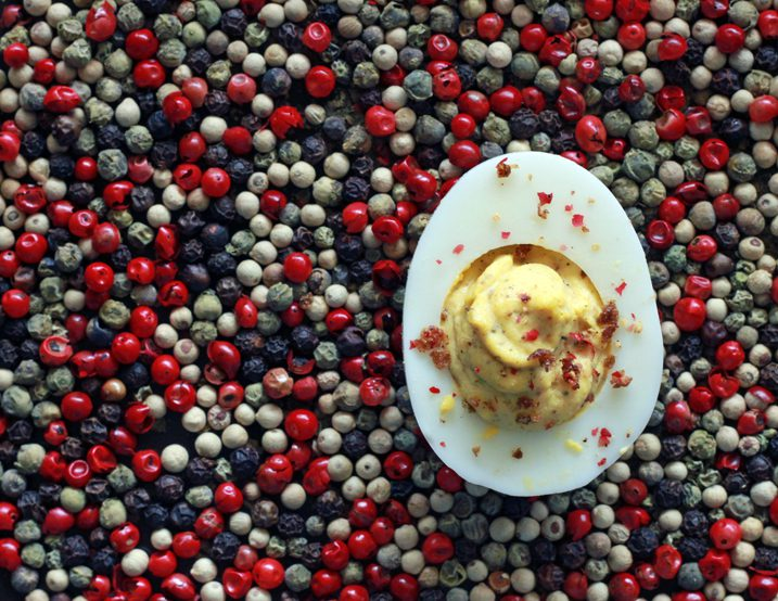 Alton Brown's 5-Pepper Deviled Eggs Recipe