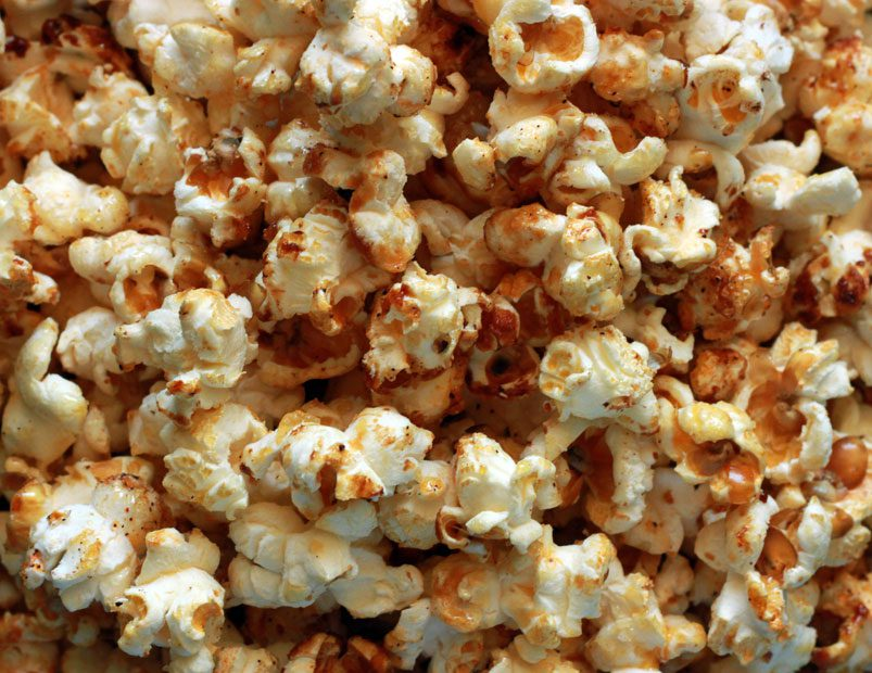 Close-up of homemade kettle corn.