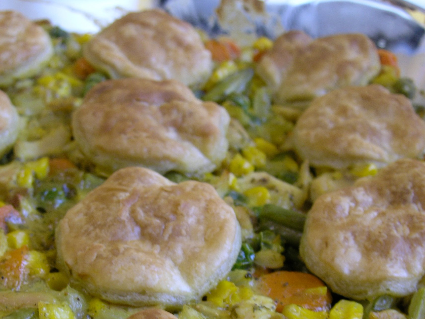Curried chicken pot pie on the set of Good Eats.