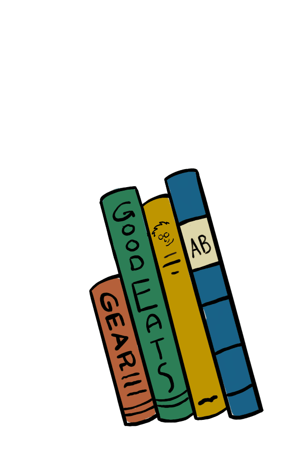 Four animated Good Eats cookbooks, stacked vertically