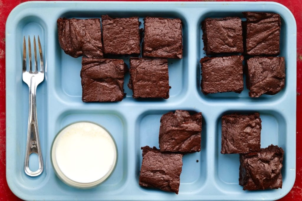 Cocoa Brownies: Reloaded on a TV dinner tray with a glass of milk.