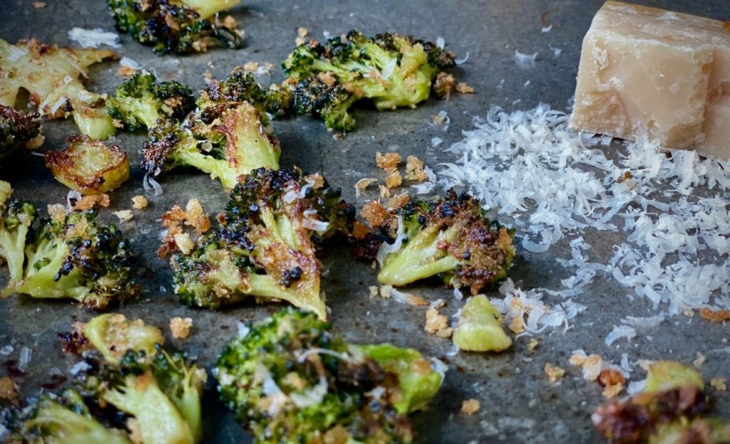 Oven roasted broccoli with Parmesan cheese.