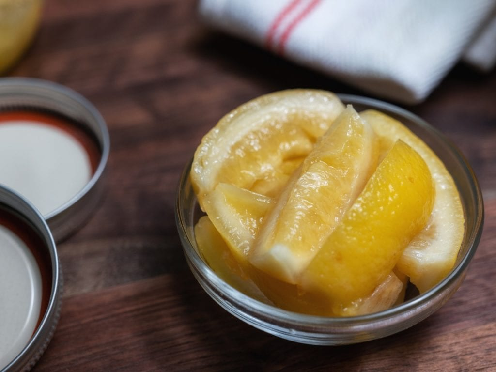 Quick Preserved Lemons in wedges