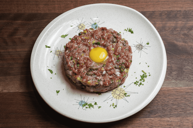 Steak tartare on Alton Brown's retro china.