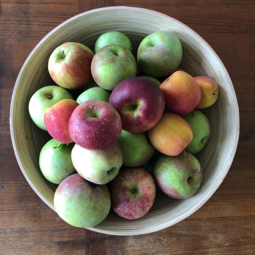 Bowl of gala, granny smith, and golden delicious apples on a wooden table.