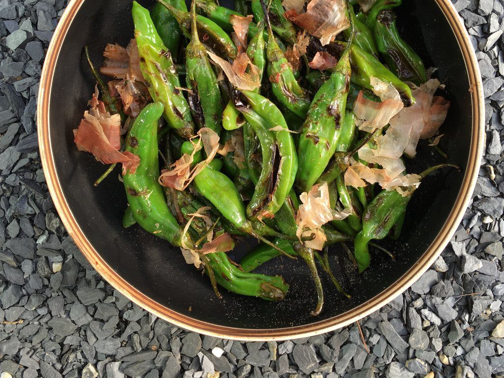 Grilled shishito peppers in a bowl with katsuobushi flakes.